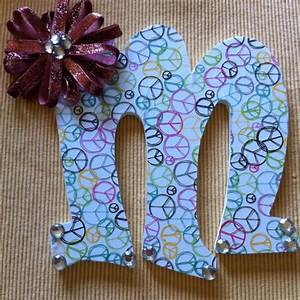 letter with bedazzled bow crafts diy for kiddos With bedazzled letters