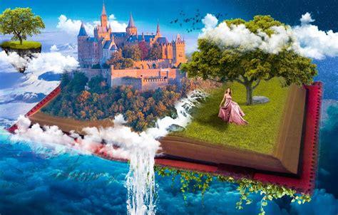 wallpaper  sky water girl clouds castle fantasy