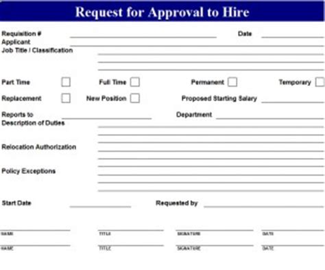approval  hire request template  excel templates