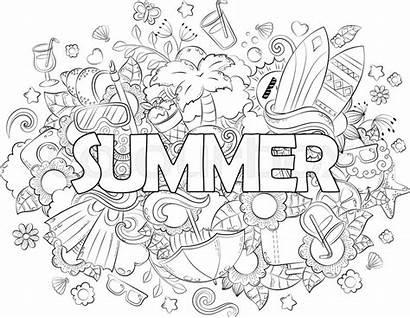 Doodle Summer Coloring Stress Illustration Anti Background