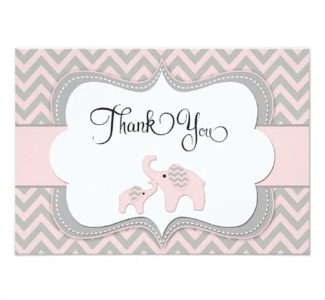 baby shower elephant template 8 baby shower thank you cards design templates free