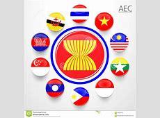 AEC, Asean Economic Community Flag Symbols Stock Photo