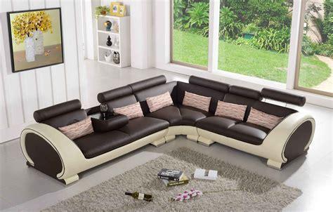 canapé d angle 5 places canapé d 39 angle en cuir marron et crème 5 places brava