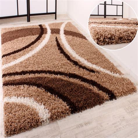 shaggy teppich hochflor langflor gemustert  braun beige