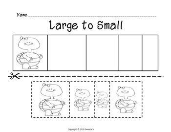 sort  size activity sheets color cut  paste