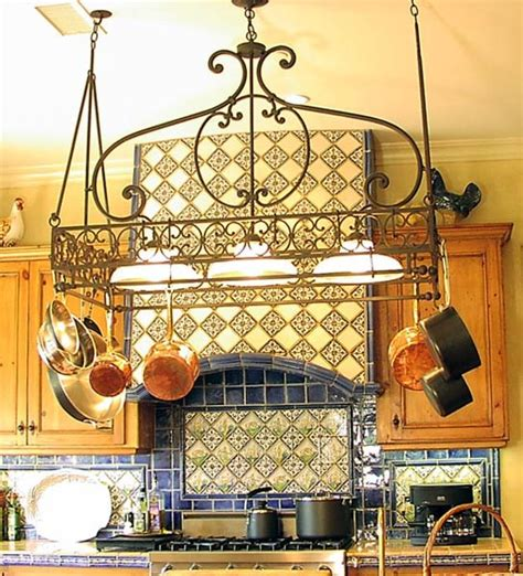 kitchen pot hanging rack with lights kitchen lighting mediterranean kitchen los angeles 9530