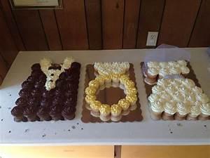 Pull apart cupcake cake tuxedo engagement ring bridal for Wedding shower cupcakes