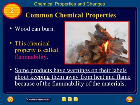 chemical properties changes matter wood property burn change common result