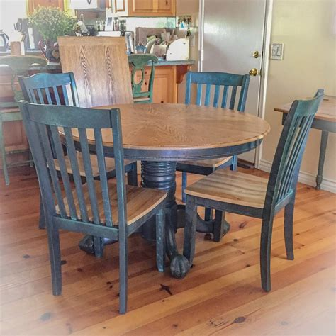 farmhouse kitchen table  leaf blue dining table