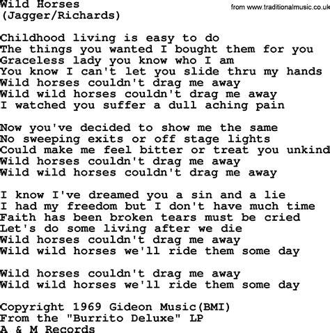 wild horses   byrds lyrics
