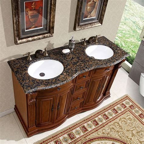 55 inch double sink vanity 55 inch double sink vanity with baltic brown top and