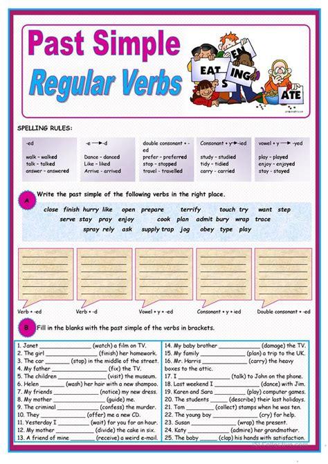 simple  regular verbs worksheet  esl