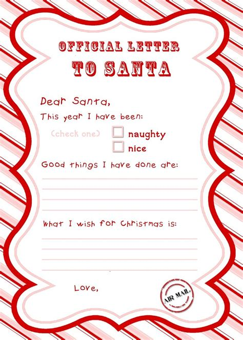 printable letter to santa with the rainy day letter to santa free printable 61211
