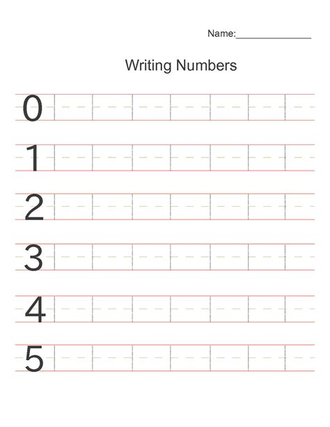 Printable Number Writing Worksheets For Kindergarten  Printable Number Writing Practice