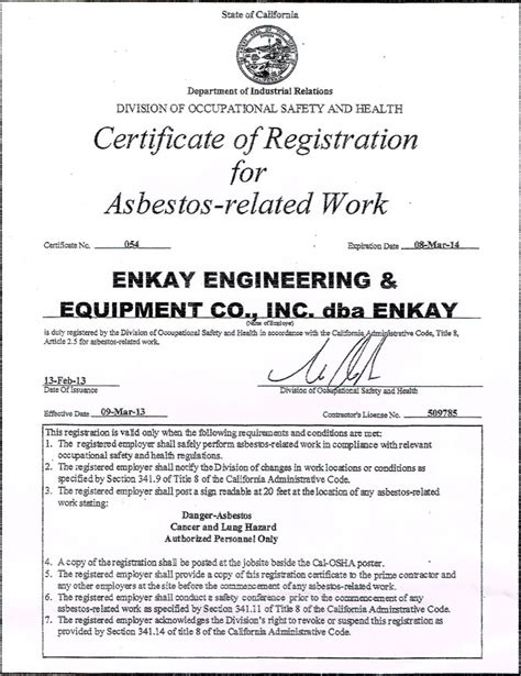 experience licenses certifications enkay engineering