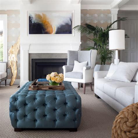 oversized chairs with ottoman living room transitional