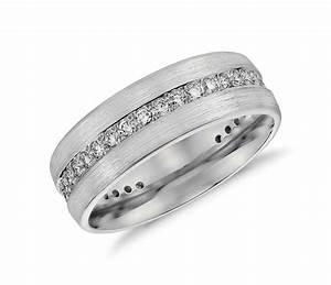Brushed Diamond Eternity Men39s Wedding Ring In Platinum 1