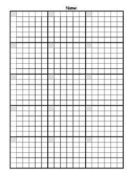 math answer sheet  graph paper grid bundle