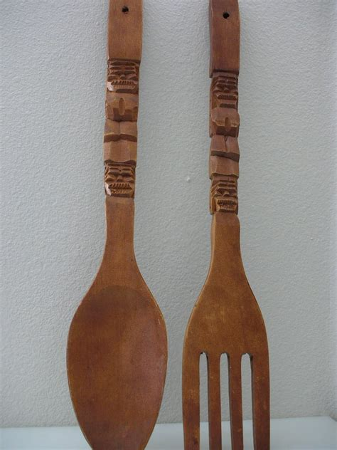 Wooden Fork And Spoon Wall Decor Large by Large Carved Wooden Spoon And Fork Oversized 22 Inch Tiki