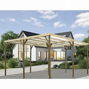 Abri Bois Pas Cher : carport double bois autoclave abri pour 2 voitures pas cher ~ Dailycaller-alerts.com Idées de Décoration