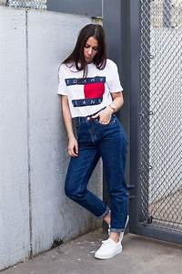 Classic mom jeans paired with boyfriendu0026#39;s Tommy Hilfiger tee-shirt.   Tommy Hilfiger   Pinterest ...