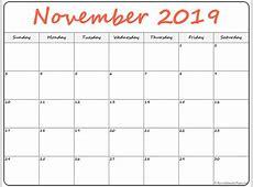 November 2019 blank calendar collection