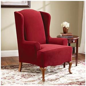 Sure fitr stretch pearson wing chair slipcover 292826 for Chair back covers for leather chairs