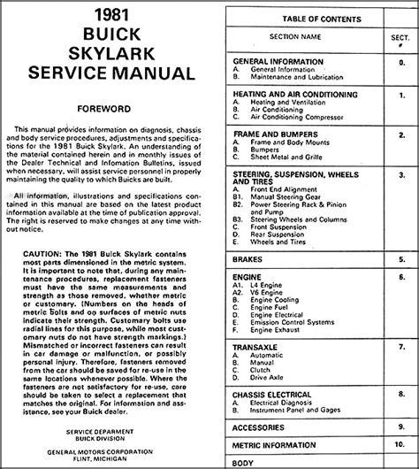 service repair manual free download 1992 buick skylark transmission control 1981 buick skylark repair shop manual original