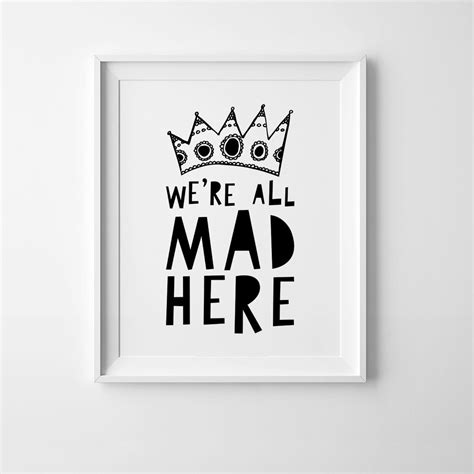 We're All Mad Here Wall Art Kids Poster In A3  Diddle Tinkers