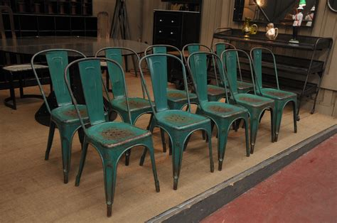 set of 10 vintage tolix a chairs in original green