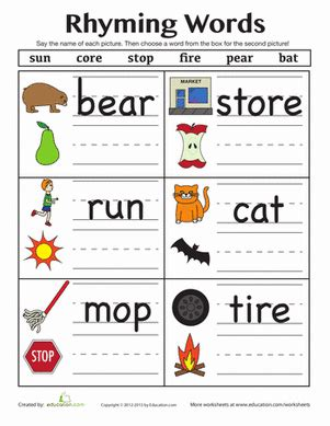 find a rhyme spelling worksheets rhyming words and