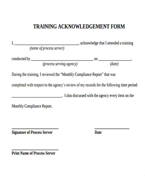 training acknowledgement form template 5 training acknowledgement letters free premium templates