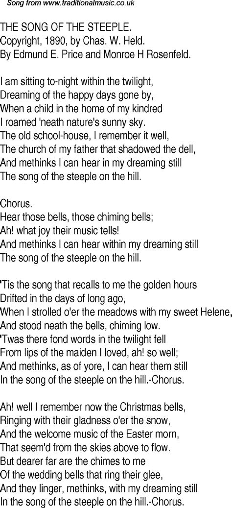 time song lyrics for 29 the song of the steeple