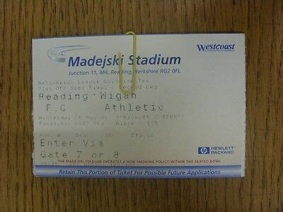 16/05/2001 Ticket: Play-Off Semi-Final Division 2, Reading ...