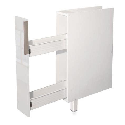 casier bouteille cuisine epices meuble bas de cuisine l 15 cm blanc brillant