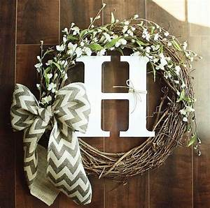 wreath idea with the letter s wreaths pinterest With letter a wreath