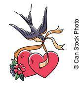 tatuaggio cuore con fiori cuore rondine fiore tatuaggio