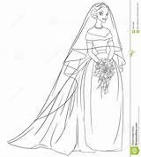 Bride Coloring Veil Illustration Line Bouquet Outlined Vector sketch template