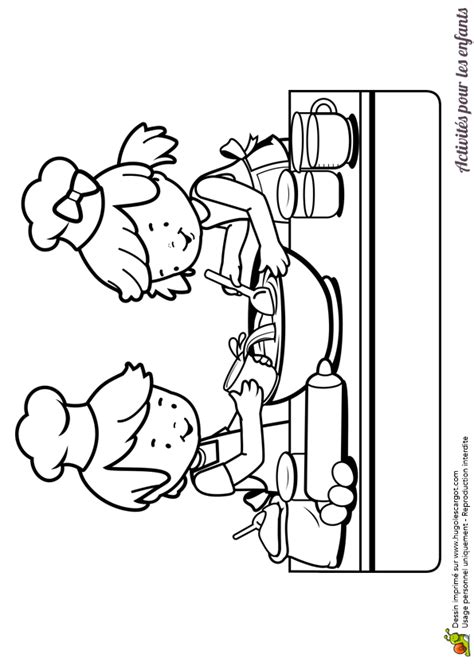 dessin animé de cuisine dessin à colorier d enfants dans une cuisine