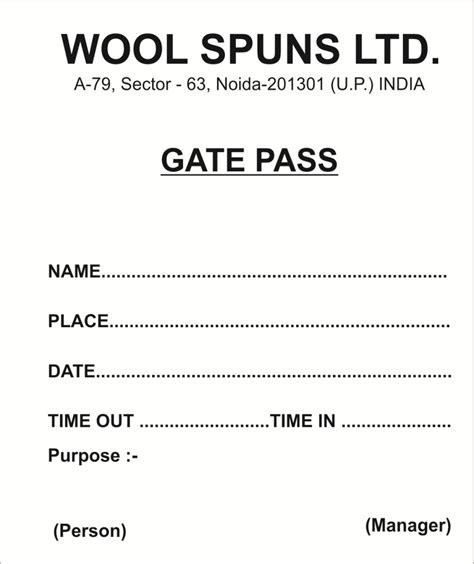 security gate pass  goods template excel