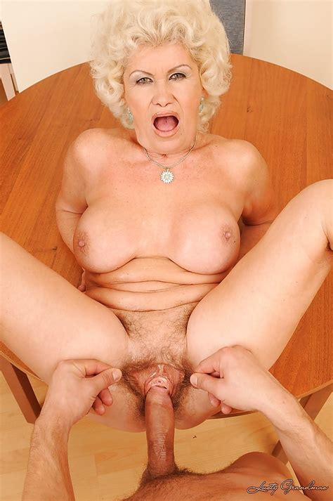 lascivious granny with big boobs gets her hairy twat drilled by a fat cock