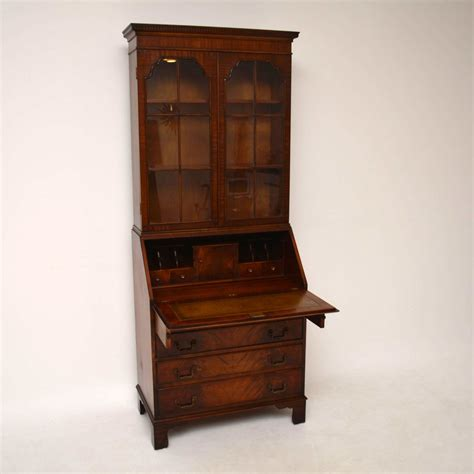 bureau style vintage antique georgian style mahogany bureau bookcase ebay