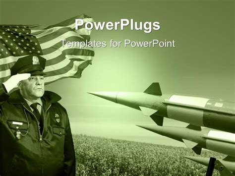 military powerpoint powerpoint template officer salutes before the united states flag with three rockets
