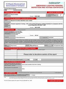 emergency lighting certificate docsharetips With emergency lighting test certificate template