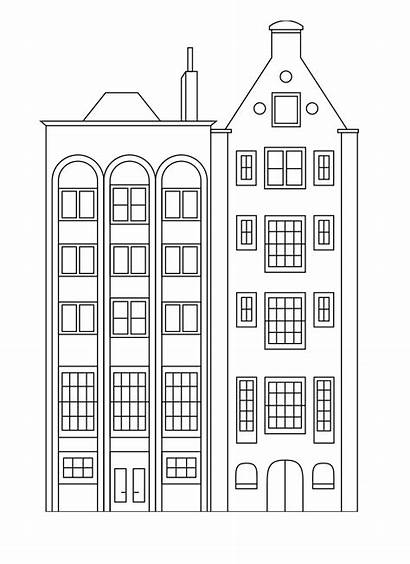 Coloring Buildings Pages Apartment Building Houses Simple