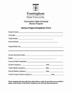 Fillable Online framingham Honors Project Completion Form ...