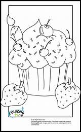 Coloring Pages Cupcake Cupcakes Strawberry Sprinkles Sheets Adult Ice Cream Teamcolors sketch template