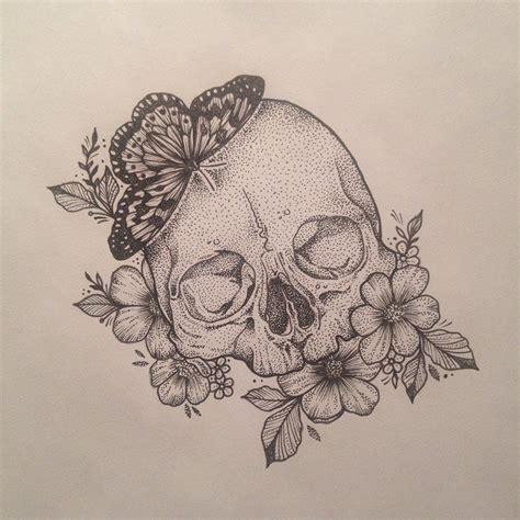 scull butterfly flowers tattoo  medusa lou tattoo artist medusalouxatoutlookcom ink