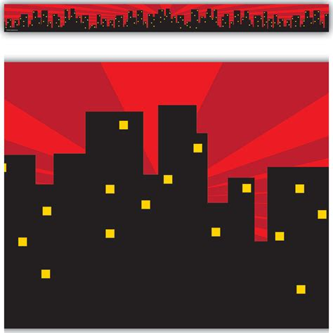 superhero cityscape straight border trim tcr teacher created resources