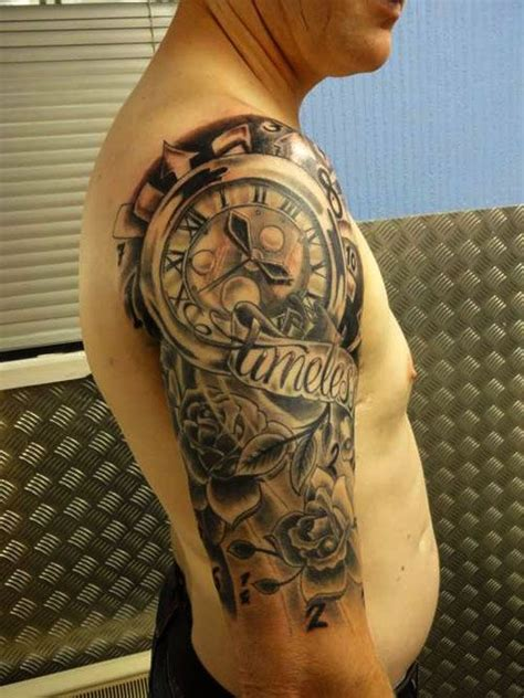 tattoo clock arm sleeve designs tattoos half sleeves cool timeless pretty drawings awesome via